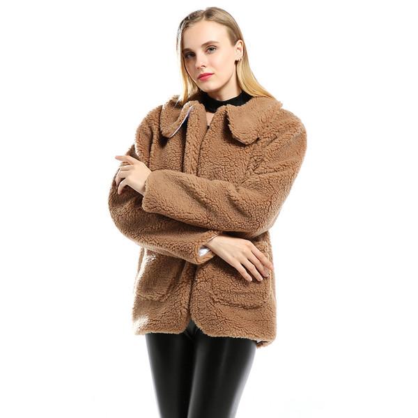Femmes à manches longues en peluche veste chaud mode laine