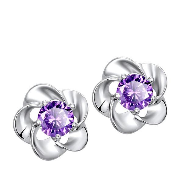 Frauen Amethyst Ohrstecker Luxus Designer Kaiserkrone Chrysantheme Delphin Elegant Eardrop Ohrring Anti Allergie Ornament 1 47hl ff