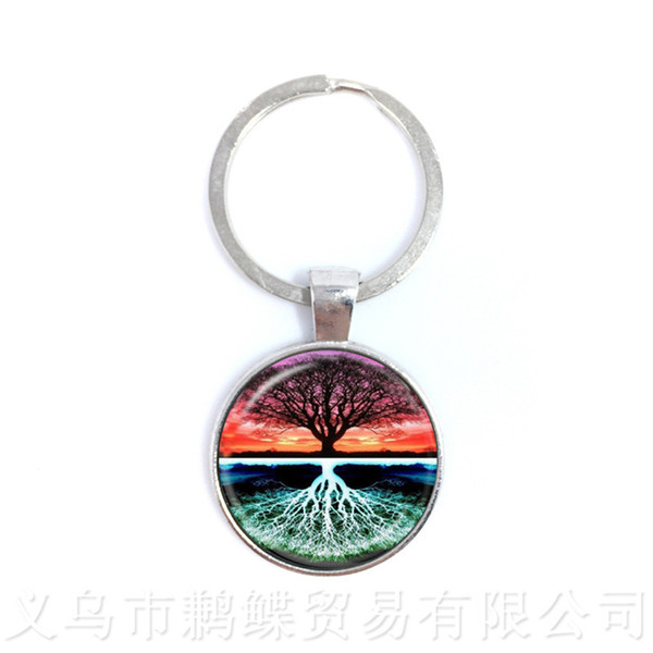 Yin Yang Keychains Ying Yang Pendant Magic Sign Zen Keyring Glass Cabochon Tree Of Life Keyholder For Men Women Girl Gift