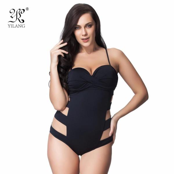 Wholesale- Sexy Transparent Mesh Plus Size Swimwear Women One Piece Bandeau Swimsuit Push Up Bathing Suit High Cut Backless Monokini 6XL