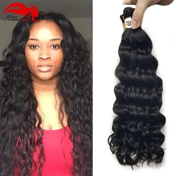 best selling bulk human hair for braiding Hannah HAIR Micro Braiding Super Bulk Style 1 Pack (3 Bundles or 4 Bundles) Deep Curly Natural Black 1B#