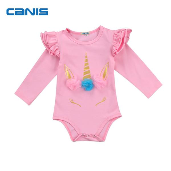 Patrón de unicornio lindo bebé recién nacido de manga larga mono traje de mono traje de ropa