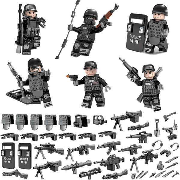 Mini SWAT Special Forces Tactics Assault Commando Policeman Toy Figure MOC Police Building Block Toy For Children