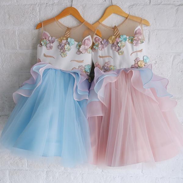 2019 2018 Girls Unicorn Dress Wedding Party Princess Dress Baby Girl Flower Dresses Vestidos Unicornio Vestido De Festa Ninas Infantil From Babyplan