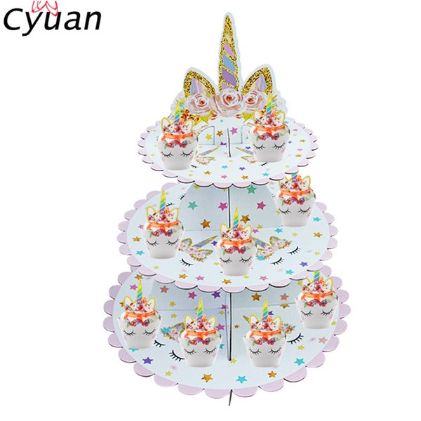 wholesale 3 Ties Rainbow Unicorn Cake Stand Cupcake Storage Birthday Party Cake Decorating Cupcake Display Baby Shower Cake Supplies