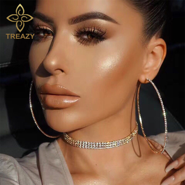 TREAZY 2018 Top Popular Rhinestone Circle Earrings Simple Big Circle Earrings Silver Color Crystal Hoop For Women Girls