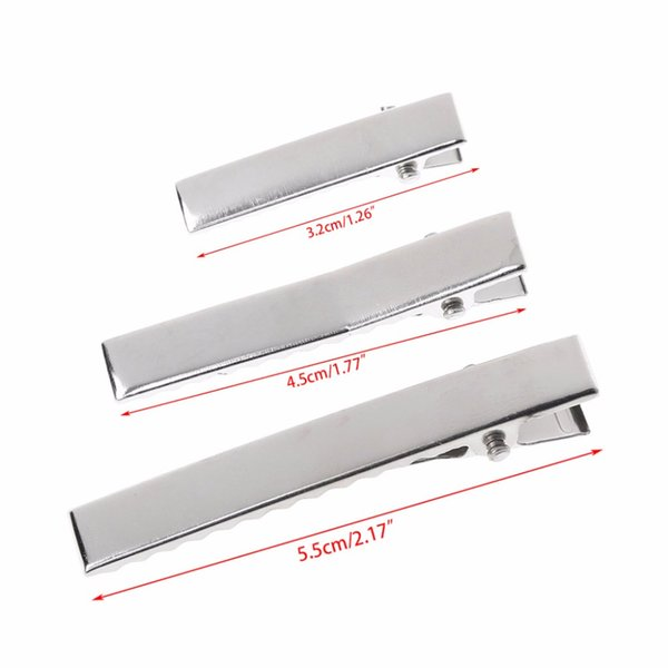 50Pcs DIY Barrette Teeth Hair Clips Utility Flat Single Prong Alligator Clips 3.2cm/4.5cm/5.5cm