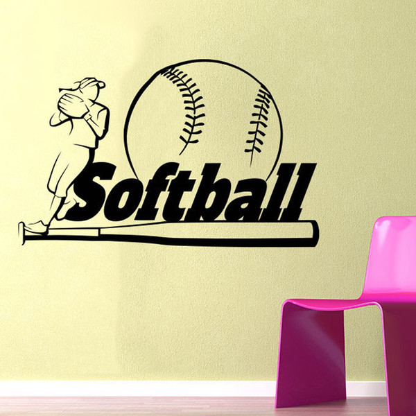 Removable Wallpaper Softball Wall Vinyl Sticker For Living Room Boys Room  Bedroom Home Wall Decoration Wall Quote Stickers Wall Quotes From  Onlybrand,