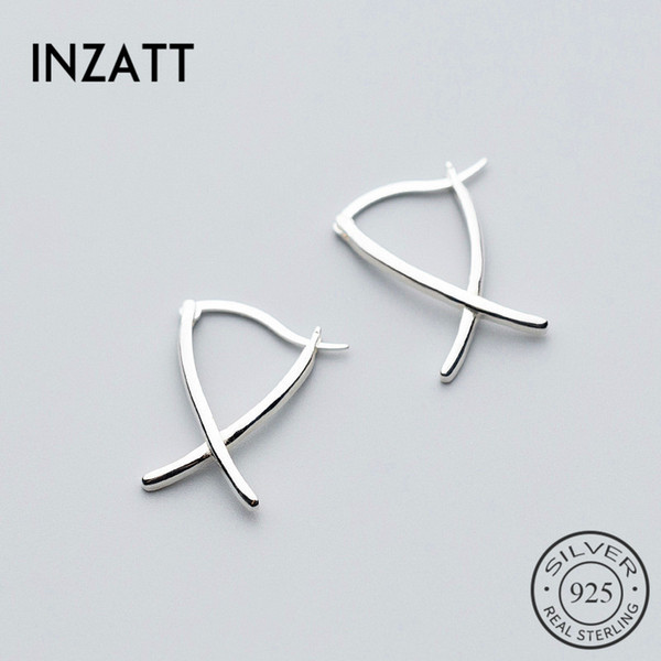 INZATT Minimalist Personality Cross Hoop Earrings 925 Sterling Silver For Women Anniversary Party Fashion Jewelry Trendy Gift