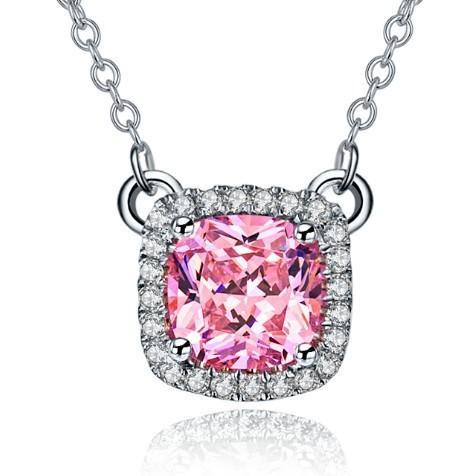 Преувеличенные подушки формы 3CT розовый имитировать алмазы кулон ожерелье твердые стерлингового серебра белого золота отделка кулон ожерелье