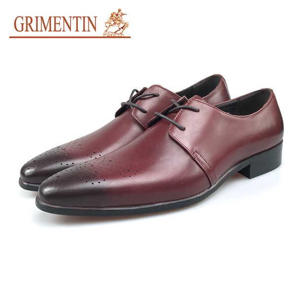 GRIMENTIN Hot Sale Men Dress Shoes Fashion Genuine Leather 2 Colors Pointed Toe Mens Oxfords Classic Cave Formal Business Male Shoes SE19