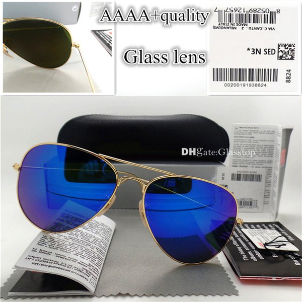 AAAAAA En Kaliteli Cam Lens Polit Vintage Gözlük Erkek Kadın Güneş Gözlüğü UV400 Marka Tasarım 58 MM 62 MM Unisex Güneş Gözlükleri Daha Iyi Durumda Sticker