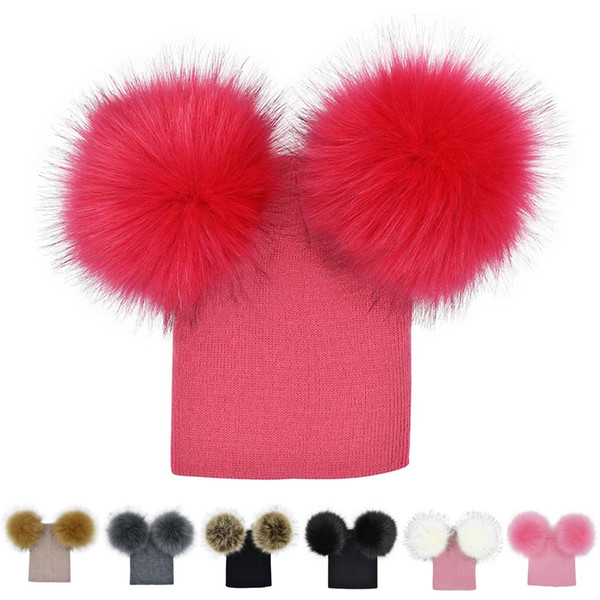 Winter Baby Knit Hat With Two Fur Pompoms Boy Girls Fur Ball Beanie Kids Caps Double Pom Hat for Children