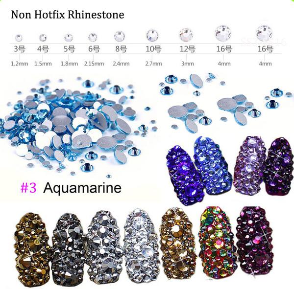 (Aquamarine) 1440pcs Crystal Rhinestones Flat Back Loose Diamante Glass Gems Nail Art Crafts SS3-SS16 Crystal Nail Rhinestones
