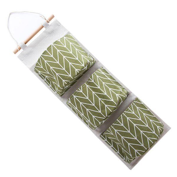 3 Pocket Cotton Linen Wall Hanging Organizer Bag Multi-layer Holder Storage Bag Home Decoration Makeup Rack Linen Jewelry lin2616