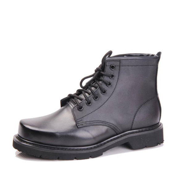 EUR 38~46 Steel-top steel bottom genuine military boots short leather boot male cowhide Martin boots men leather shoes