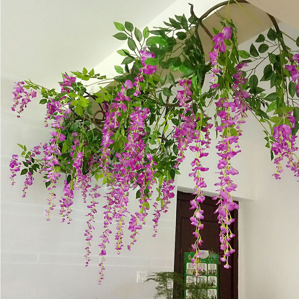 artificial wisteria silk flowers vine home wedding party tree rattan ceiling l mariage plafond decoration garden hanging garland plants
