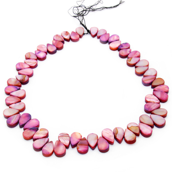 best selling Simple fashion drop shaped oyster shell beaded dyed shell DIY earrings necklace accessories
