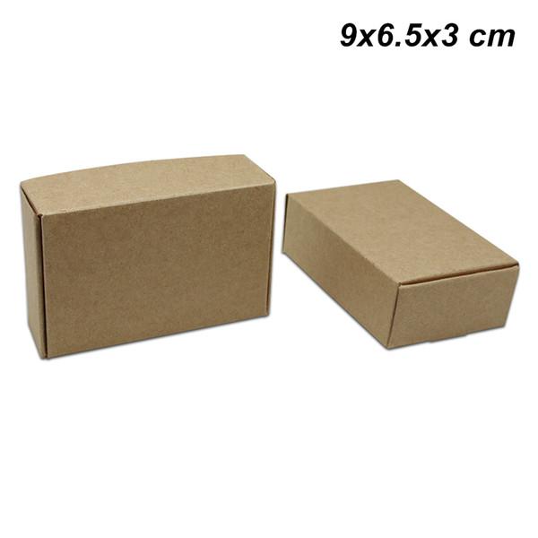 20 Pcs Lot 9x6.5x3 cm Braun Craft Papier Geschenke Verpackung Boxen für Schmuck DIY Handgemachte Soap Boxes Kraftpapier Hochzeitstorte Cookies Schokolade