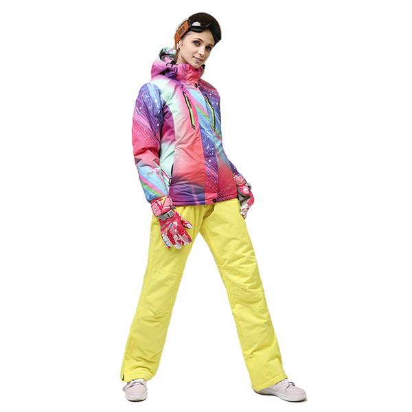 Ski suit 2018 women's single and double board ski suit women's jacket + waterproof shoulder strap pants mountaineering