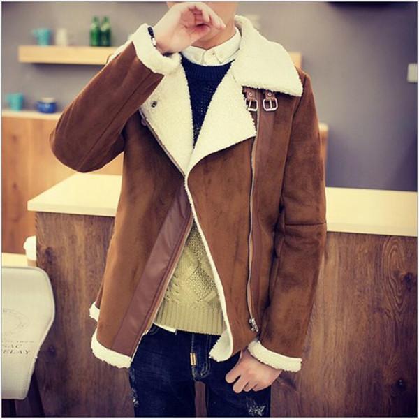 Marka Tasarımcı Güz Shearlıng Kış Palto Faux Kürk Süet Ceketler Sid Zip Kuzu Yün erkek Koyun Cilt Çentikli Yaka Coats Satılık