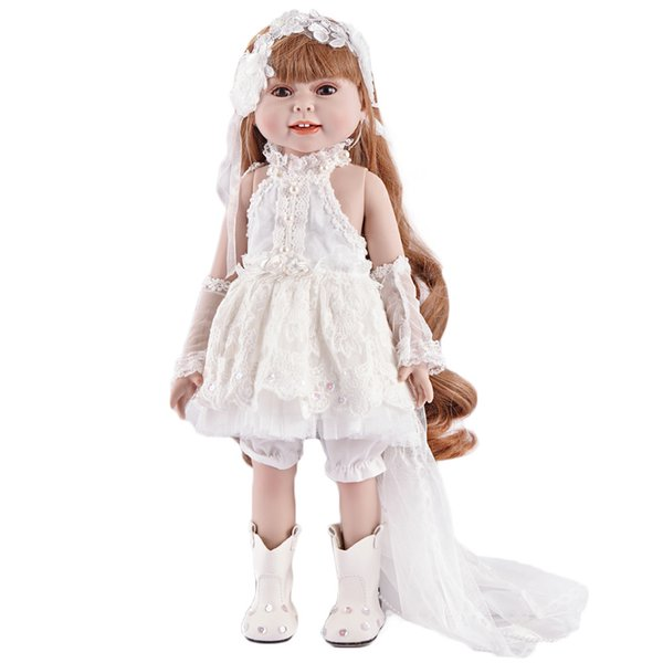 18 inch 45cm real girl doll reborn baby toys long hair princess bonecas best girls toys birthday gift