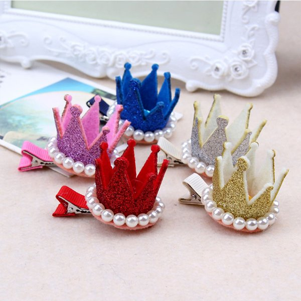 1PC New Cute Crown Pearl Crystal Hair Clip Little Girls Birthday Party Gifts Hairpin For Princess Kids Headband Hair Accessories