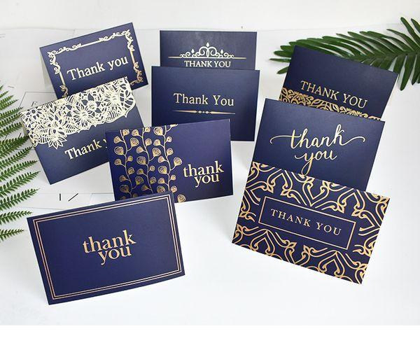 Großhandel Marineblau Danke Karten Grußkarten Visitenkarte Erstklassig Farbe Bronzing Danke Für Ihre Geschäftspartner Kunden Gast Von Lifeforyou