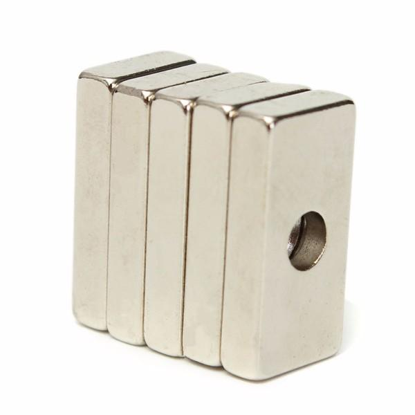 5pcs 20x10x4mm N35 Strong Cuboid Magnets Rare Earth Neodymium Magnets With 4mm Hole