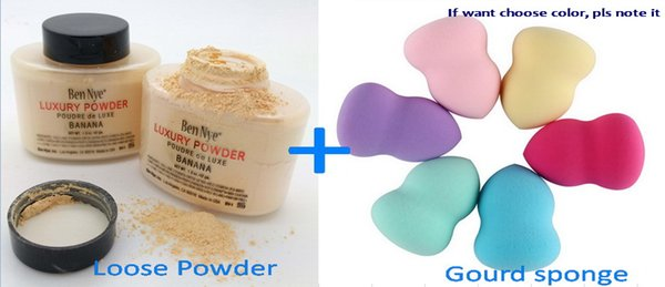 Makeup Beginner set Banana Luxury Loose powder With Good Quality Gourd Sponge Puff Face 2 In 1 Cosmetic