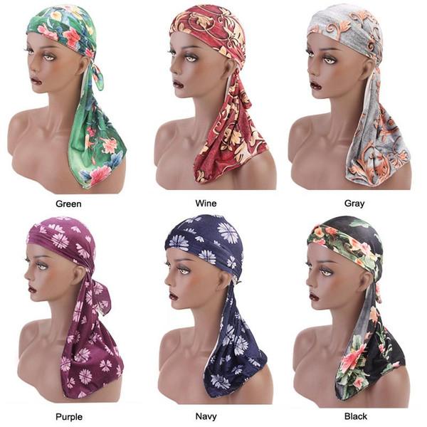 section spéciale dernier style pas cher Acheter Mode Pour Hommes Imprimer Velours Durags Bandanas Turban Bandeau  Velours Homme Du Rag Floral Waves Casquettes Turban Headwear Accessoires  Pour ...