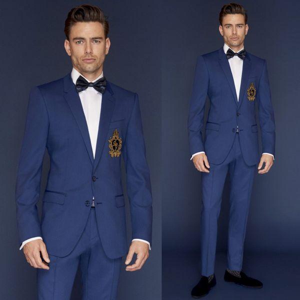 Feito sob encomenda Bestmen Casamento Ternos de Cor Azul Duas Peças (Jacket + Pant) Homens de Negócios Smoking Formal Boa Qualidade Noivo Roupas conjunto