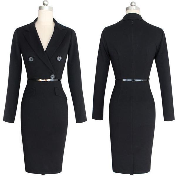 Kadınlar Kış Sonbahar Elbise Takım Elbise Bodycon Parti Kulübü Elbiseler Seksi Vestidos Uzun Kollu Kemer Akşam Siyah Business Suit