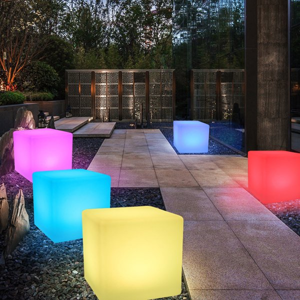 Glowing LED Chair 7-Color Led Furniture 20X20X20CM Square Cube Luminous Light for Garden/Bar/Party/Wedding/Show with Remote Control(For Kid)