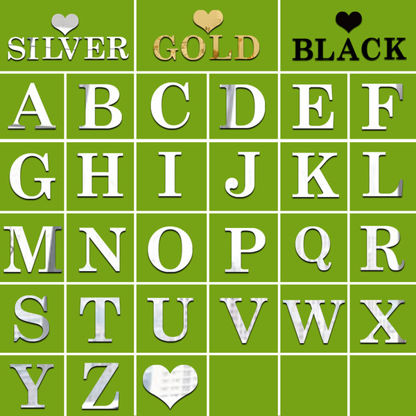 Silver 10CM Mirror Wall Sticker 26 Letters DIY Art Mural Home Decor Acrylic Decals Diy I LOVE YOU Mirror Stickers Alphabet Style