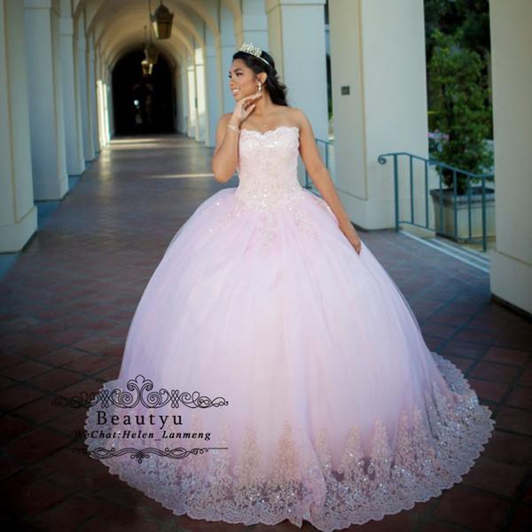 Rosa Prinzessin Ballkleid Quinceanera Kleider trägerlosen Korsett Vintage Spitze Pailletten Tüll Bodenlangen Sweet 16 Kleid 2019 Prom Kleider