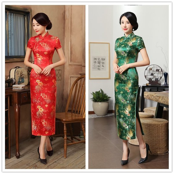 In the spring of 2018 China long brocade ancient wind printing split collar cheongsam dress