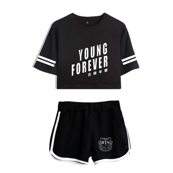 BTS YOUNG FOREVER Women's Sets Hot Summer Exposed Navel Tops Sexy Shorts Ladies Hip-Hop Active Tracksuits Letters Strap PlusSize