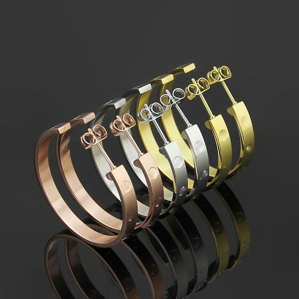 Joyería de acero titanium marca mayorista Carter dama clavos del oído 18 K oro rosa grande C Forma Pendientes envío de la gota encantos de moda regalo