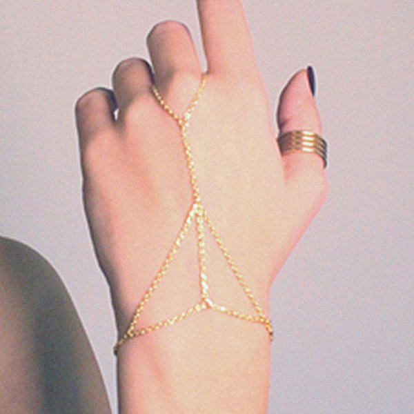 Celebrity Multi Chain Tassel Bangle Slave Finger Ring Hand Chain Harness Gold Free Shipping Gift ns42hun