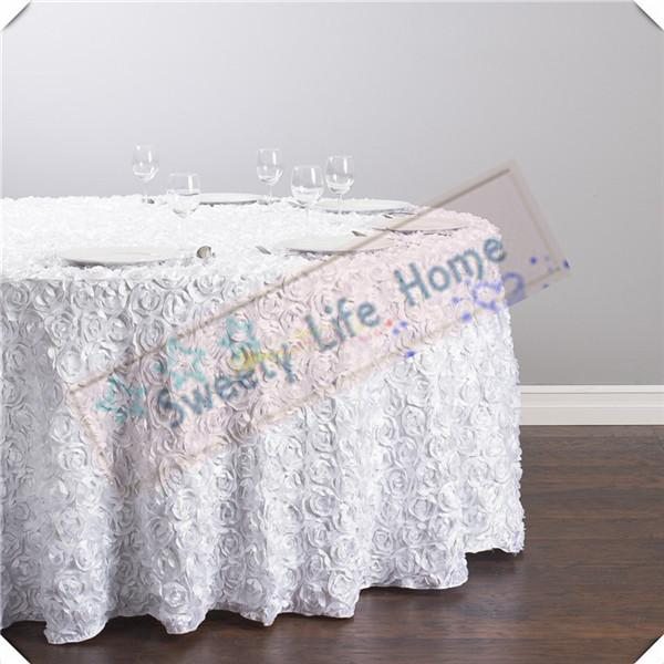 Free shipping 5pcs White color 3D Satin Rosette table cloths/Wedding Rose table cover tablecloths/120inch round cloth