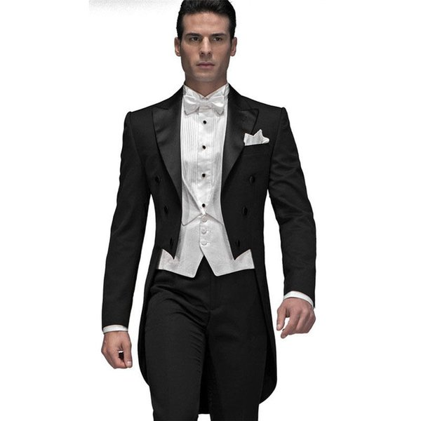 Custom Made Men's Wedding Suits Slim Fit Groom Tuxedo Groomsmen Formal Prom Bridal Tailcoats (Jacket+Vest+Pants) Y315