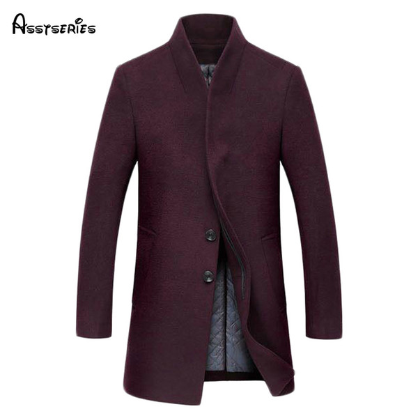 Free shipping Fashion Casual Winter Men Woolen Jackets stand Collar Long Slim Coats Warm Wool Blends Clothing Size M-3XL 155hfx