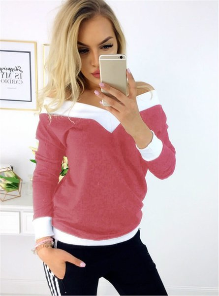 Trend Women Strapless Camisetas Russia trend lady azul rosa Piping Rim Knit Cotton Stitching color Elástico slim manga larga casual Teens Tops