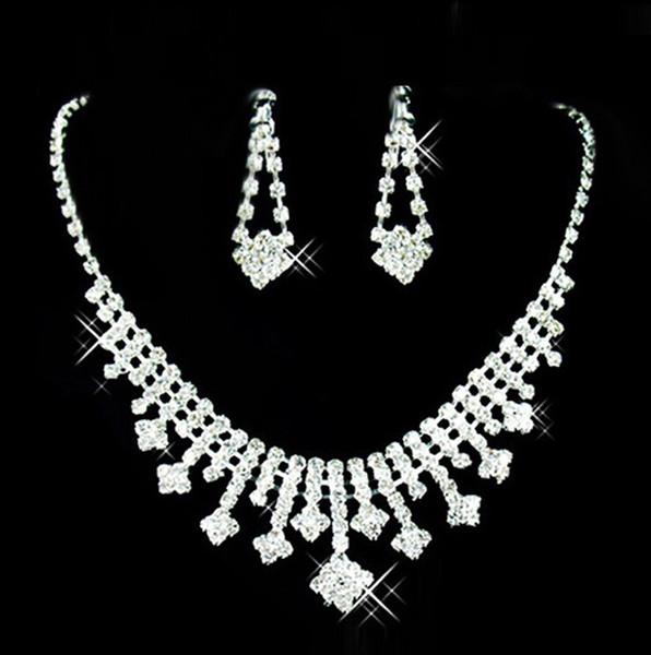 2018 Wedding Bridal Jewelry Prom Silver plated Rhinestone Crystal Bridal Jewelry New Necklace Earring Set Wedding Jewelry Sets