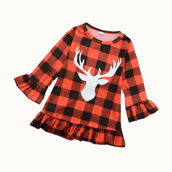 INS Christmas Kids Girls party Dress Red Plaid Deer Ruffle Princess dresses Long Sleeve Kid Toddler Clothing Xmas Checked Clothes 1-6T