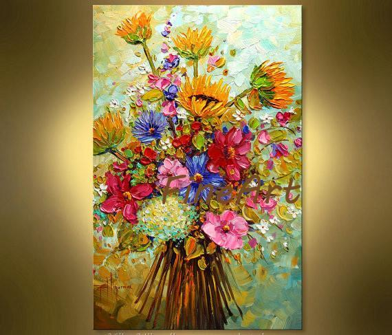hand-painted oil wall modern abstract colorful floral painting palette knife textured oil painting wall painting abstract office decoration