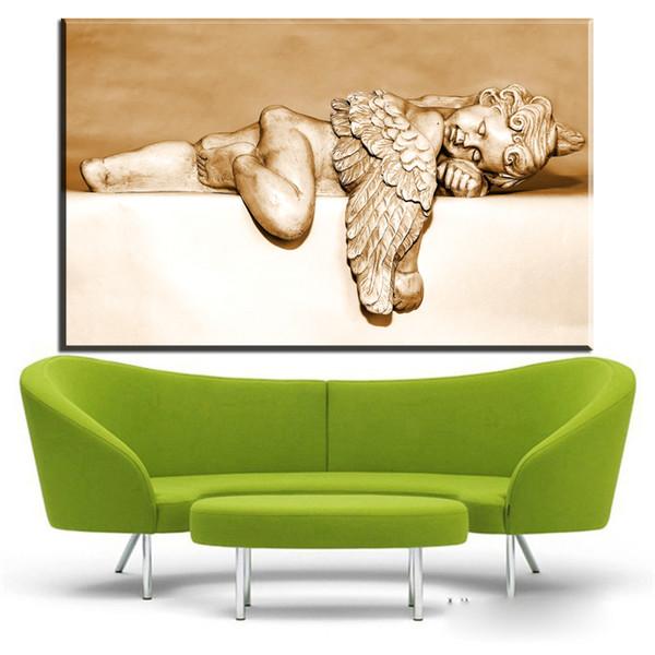 Großhandel Moderne Leinwand Wandkunst Flügel Engel Schlafen Leinwandbilder  Ölkunst Gemälde Für Wohnzimmer Schlafzimmer Dekoration Kein Rahmen Von ...