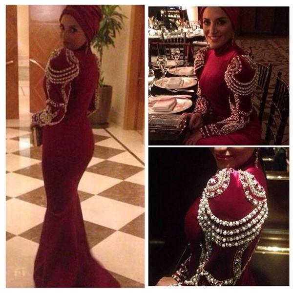 2019 Modest Medio Oriente elegante cuello alto vestidos de noche manga con perlas perlas árabe sirena vino rojo largo noche vestidos de baile