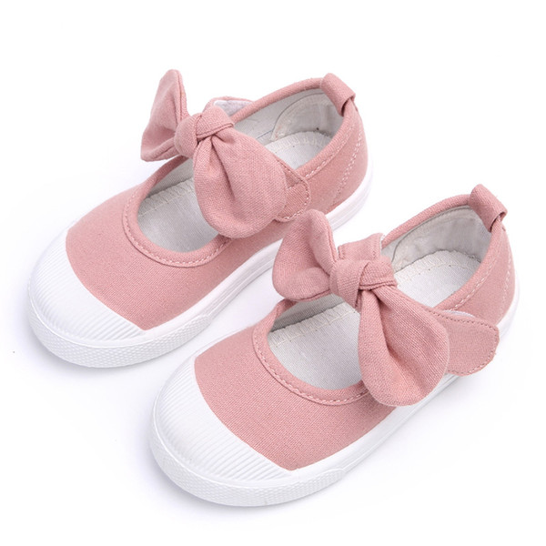 Fall 2018 Children Shoes Girls Canvas Shoes Fashion Bowknot Comfortable Kids Casual Shoes Sneakers Toddler Girls Princess